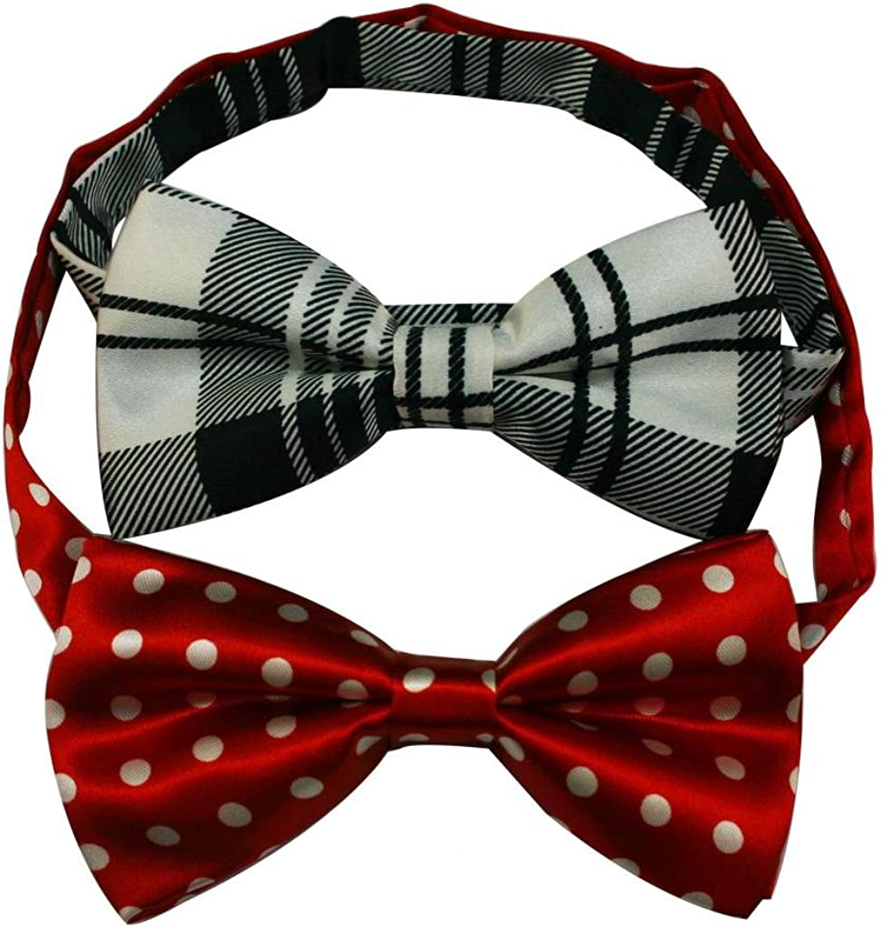Generic Mens' Polyester Bow Tie Assorted Style Red White and Black Pack Of 2
