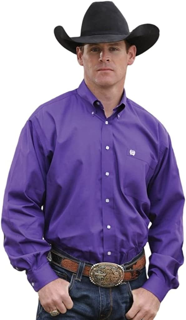 Cinch Men's Long Sleeve Button-Down Solid Shirt Big and Tall