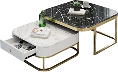 Home Décor Furniture Light Nesting Tables,Overlapping Ending Tables with Drawer,Marble Tea Coffee Table for Living Room Hotel Office Living Room or Lounge