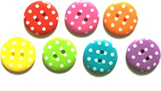 24 Pcs Cute Retro Polka Dot Buttons 2 Hole Size 19 Mm Mix Rainbow Color
