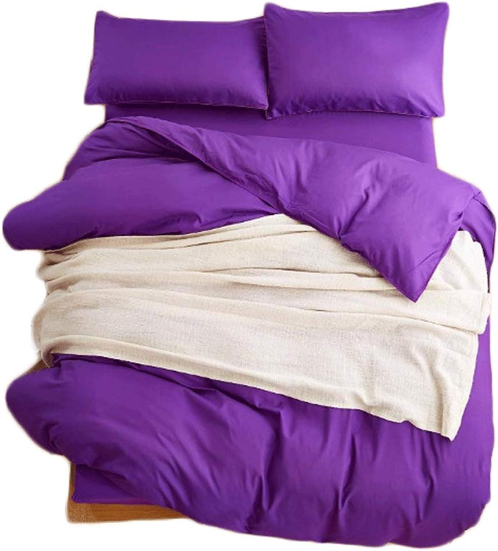 230×245cm 4 Piece Set Solid color Bedclothes Pillowcase Quilt Sheets Four Seasons Universal (color   Pure deep Purple)