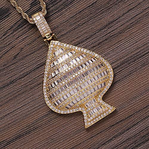 Tridimensional Personalidad melocotón en forma de corazón colgante, collar cobre con incrustaciones circonio, el mismo estilo para hombres y mujeres, puede ser utilizado como collares Pareja,Oro