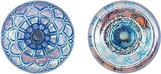 Botones, 1 Pieza, Button prensado Redondo checo con una caña de Vidrio, tamaño 8 (diámetro 18 mm), Vidrio Bohemio, Pintado a Mano, Crystal AB with Blue Transparent Scales Ornament