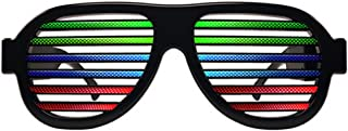 Light Up Shutter Glasses by Glowseen - Sound Reactive - USB Rechargeable Rave Glasses - Black