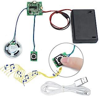WayinTop Módulo de Sonido Grabable Control de Botón 8MB MP3 WAV Música Reproductor Voz Chip con Caja de Batería AA y Micro...