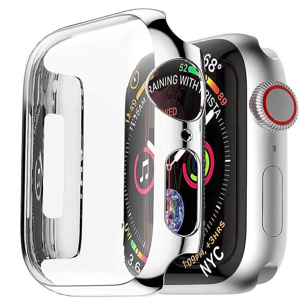 待って兄軌道Movone for Apple Watch5/4 フルカバー 44mm フルケース PC素材 メーキ加工 全面保護 アップルウォッチ カバー 高感度 耐衝撃性 軽量超簿 装着簡単 Apple Watch Series 5/4に対応 (44mm/シルバー)