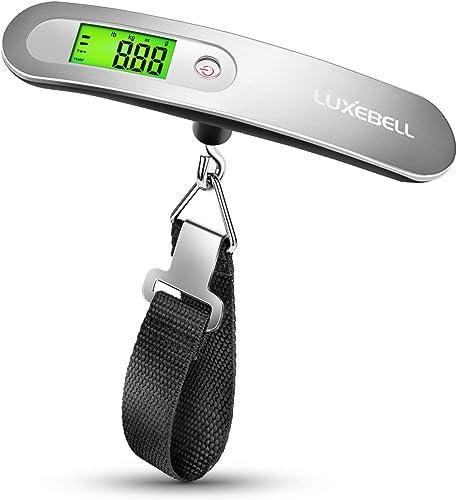 Báscula Digital Luxebell Balanza de Equipaje de Ergonómica LCD 50g/50Kg para Viaje - Plateado