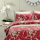 Bettwäsche-Set, japanischer orientalischer Stil, Kirschrot mit Blumenzweigen, bedruckt, Fadenzahl 300, Baumwolle, 3-teiliges Set (Queen-Size)