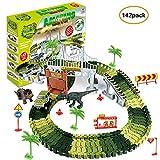 househome Racetrack Racetrack Dinosaur para niños niño 3 4 5 6 años, 142 Piezas La Pista Jurassic Dino World Dinosaurio de Pista Flexible Juguete Educativo