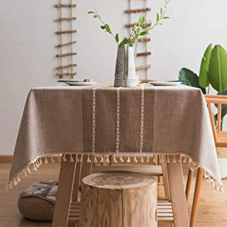 LXKBD Tassel Tablecloth Cotton Linen Fabric, Washable Table Cover for Kitchen Dinning Cafe Decoration (Rectangle/Oblong, 55 x 70 Inch, Linen)