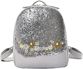 Wultia - Backpack Japan and Korean Style Women Flower Sequin Bag Shoulder Bag Backpack Fashion Wild Student Bag Mochila Feminina *0.92 Silver
