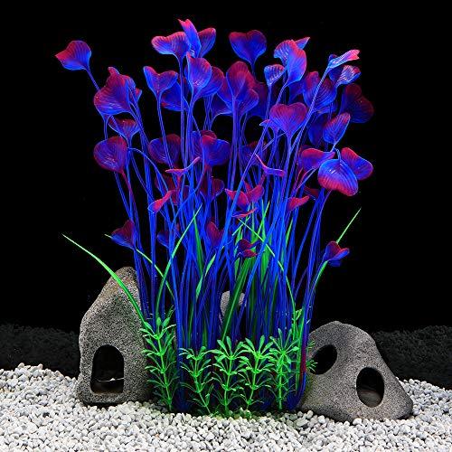 QUMY Large Aquarium Plants Artificial Plastic Fish Tank Plants Decoration Ornament for All Fish (D-Purple)