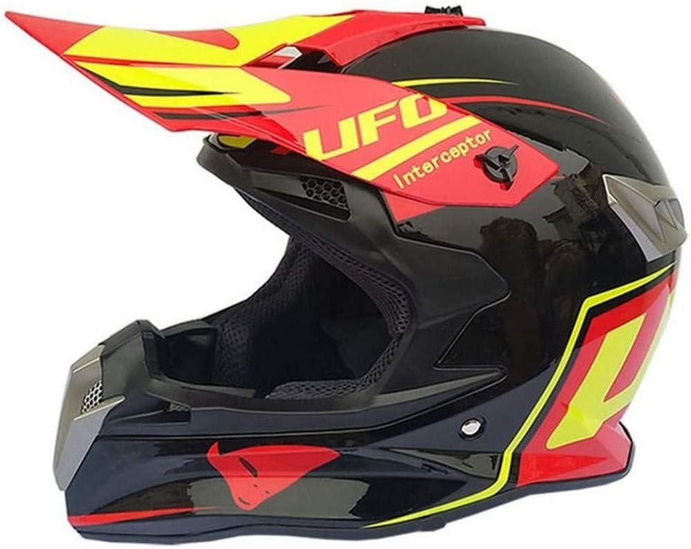 ZGYZ Casco y Gafas de Motocicleta Cruzados (4 Piezas), Negro y Rojo/UFO, Yonth MTB Off Road Casco Quad Moto Bike MX ATV Crash Casco para Hombres y Mujeres