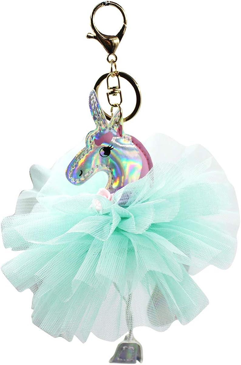 RARITYUS Cute Unicorn Keychain Princess Keyring Charm Key Organizer for Handbag Purse Backpack Bag Decoration for Women Girls