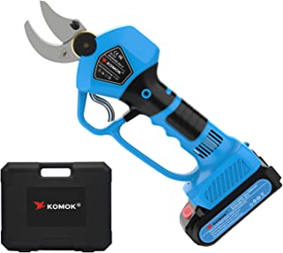 KOMOK Electric Pruning Shears Cordless Scissors,Power Hedge Trimmer Secateurs, with 2 Rechargeble 2000mAh Batteries,Tree T...
