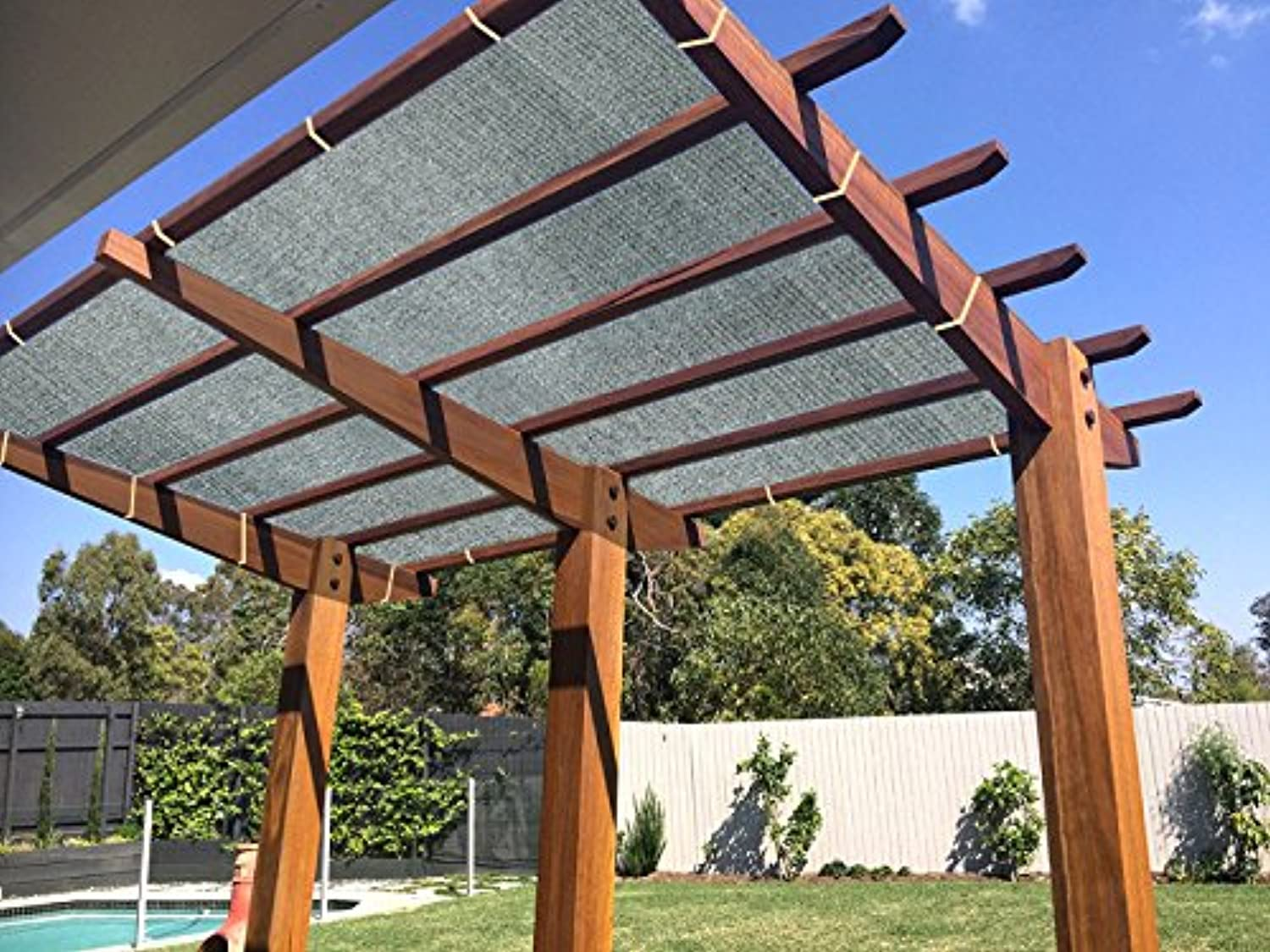 Ecover 90% Shade Cloth Grey Sunblock Fabric Rope UV Resistant Patio Pergola Canopy,6x20ft