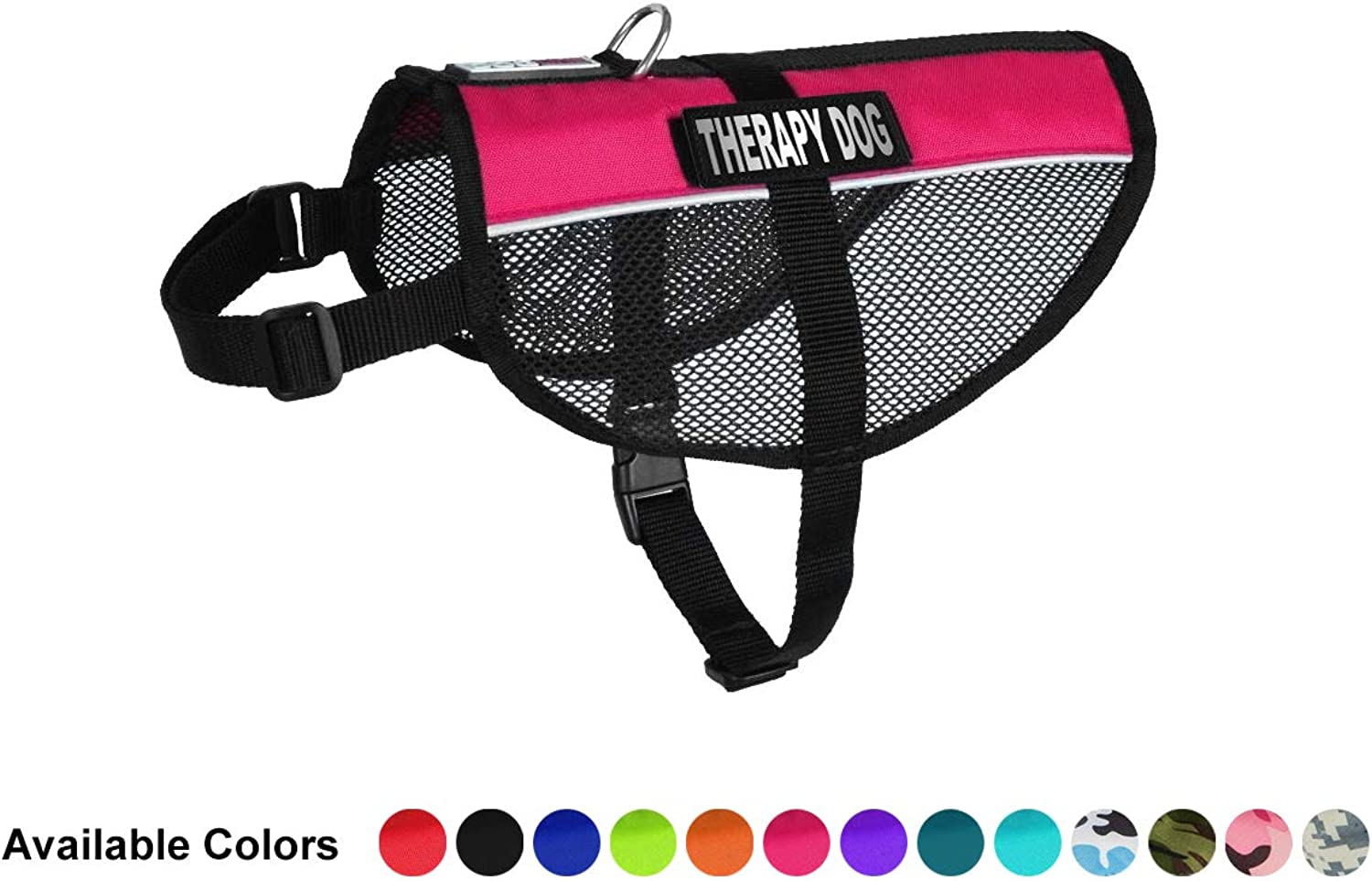 Dogline MaxAire MultiPurpose Mesh Vest for Dogs and 2 Removable Therapy Dog Patches, Medium, Pink