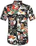 SSLR Men's Santa Claus Party Tropical Ugly Hawaiian Christmas Shirts (Large, Black)