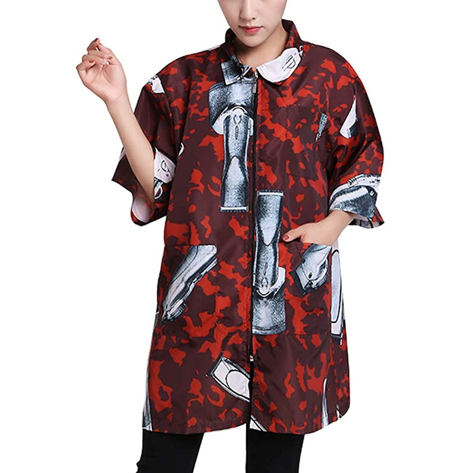Hair Stylist Grooming Smocks Haircut Cape Barber Apron Jacket Vest for Hair Salon Dog Groomers Nail Tech Massage Therapist Beauty SPA Red M