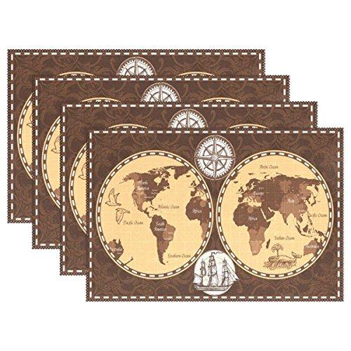 ELQSMTIR Retro-Weltkarte mit Namen von Kontinenten und Ozeanen, hitzebeständige Tischsets, 6 Stück, fleckenabweisend, waschbar, Essmatte für Partys und Feiertage, Polyester, 4 Packs, 12X18inch