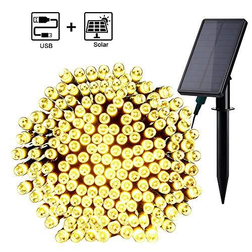 Qedertek Guirnalda Luces exterior Solar 23.5M 220 LED, 2 Selección para Recargar con Sol o USB, Cadena Luz Solar Resistente Al Agua, Iluminación para Arbol de Navidad