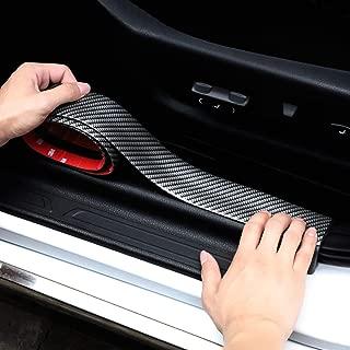 Henlight Carbon Fiber Rubber Bumper Strip DIY Door Sill, 2.5m5cm Universal Bumper Protector, Scratch-Resistant Rear Bumper Guard Edge Guard Car Stickers Car Styling Accessories (2.5mX5cm)