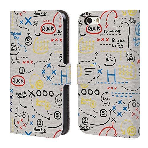 Head Case Designs Official England Rugby Union Juego más Antiguo Niños Carcasa de Cuero Tipo Libro Compatible con Apple iPhone 5 / iPhone 5s / iPhone SE 2016