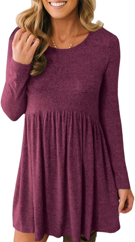 Intimate Boutique Women's Long Sleeve Flowy Peplum Tunic Dress