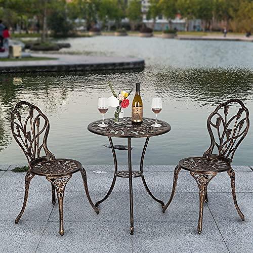 Bonnlo 3 piece Garden Furniture Sets Bistro Set Garden Table And Chairs with Umbrella Hole,Cast Tulip Design Antique Outdoor Patio Furniture