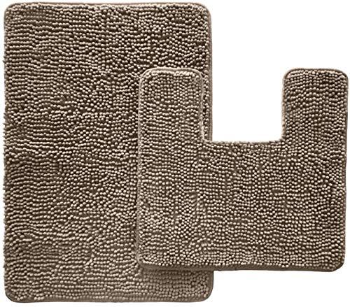 GORILLA GRIP Original Shaggy Chenille 2 Piece Area Rug Set, Many Colors, Includes Square U-Shape Contoured Toilet Mat & 30x20 Bathroom Rugs, Machine Wash, Plush Mats for Tub, Shower, Bath Room, Beige