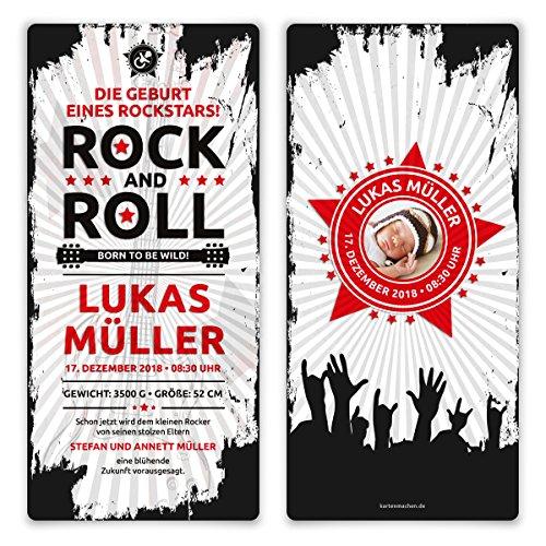 20 x Geburtskarten Babykarten witzig Jungen Mädchen individuell - Rock and Roll Rockstar