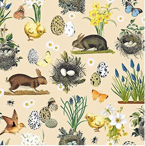 20 tovaglioli vintage pasquale beige come decorazione da tavolo per la primavera e la Pasqua e per il bricolage con decoupage, 33 x 33 cm.
