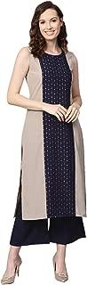 Ziyaa Women's Beige Color Foil Print Straight Crepe Kurta With Palazzo / Salwar Suit Set