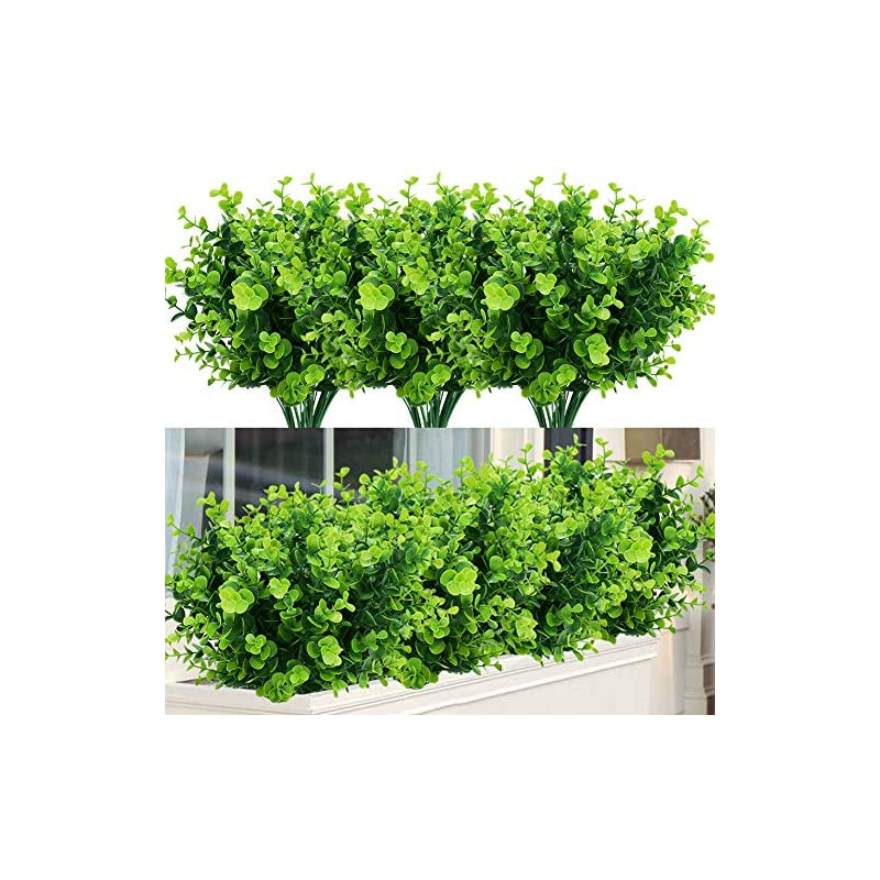 silk flower arrangements temchy artificial plants flowers faux boxwood shrubs 6 pack, lifelike fake greenery foliage with 42 stems for garden, patio yard, wedding, office and farmhouse indoor outdoor decor