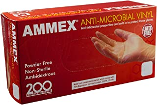 AMMEX Anti-Microbial Vinyl 3 Mil Disposable Gloves - Latex-Free, Powder-Free, Non-Sterile, Ambidextrous, Clear, Large, Box of 200