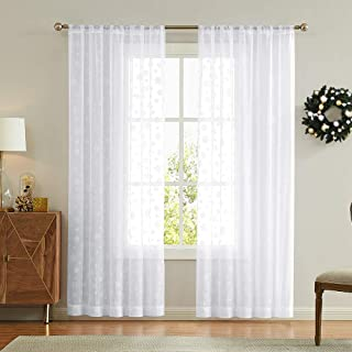 2 Panel White 84 inches Long Sheer Curtains with Snowflake Design Snow Winter Christmas Decor, Rod Pocket Window Curtains
