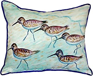 """Betsy Drake SN269 Sandpipers Small Indoor/Outdoor Pillow, 12"""" x12"""""""