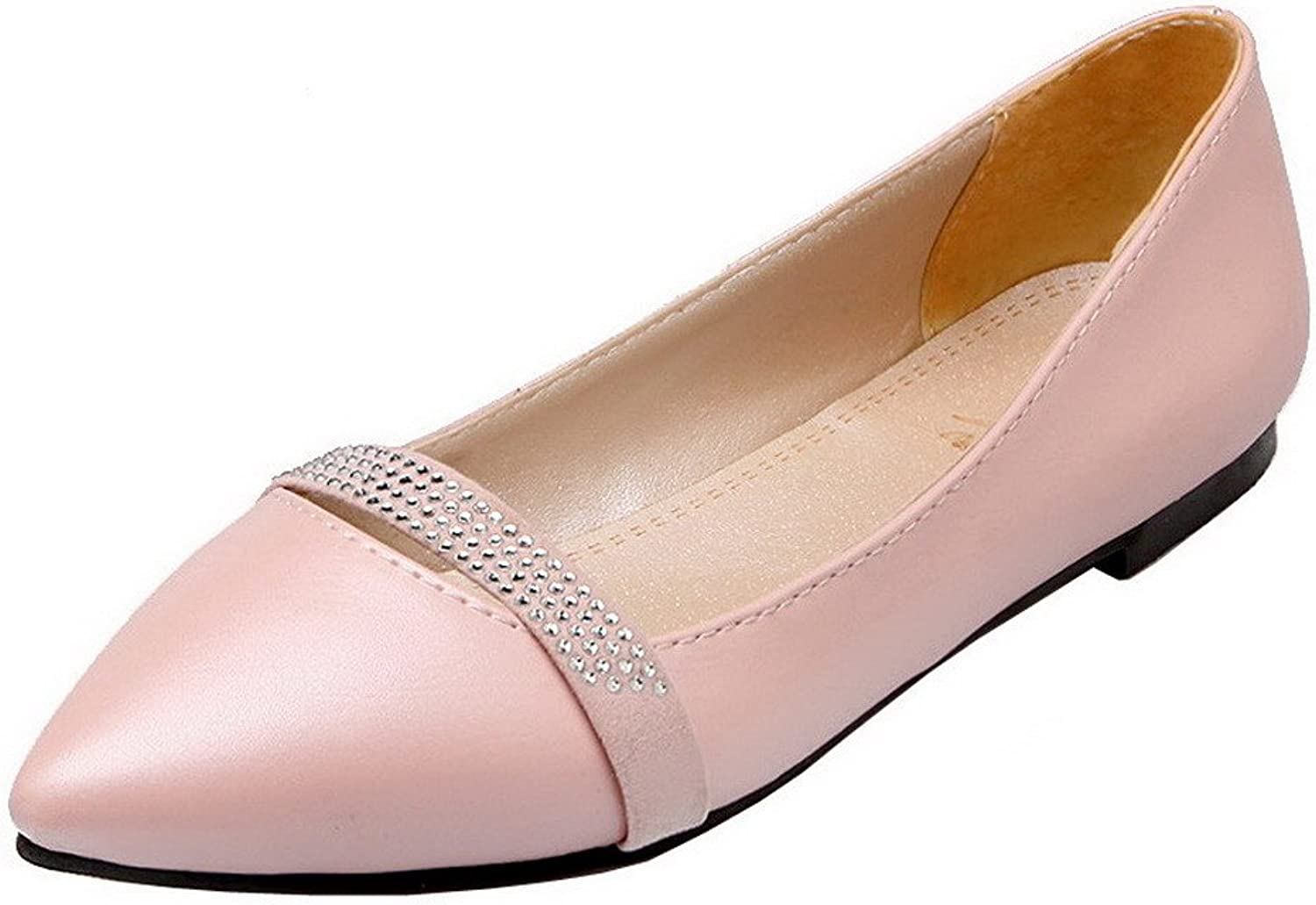 WeiPoot Women's Low-Heels Solid Pull-On PU Pumps-shoes
