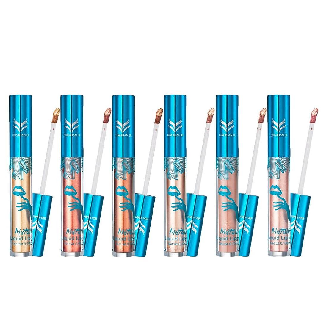 典型的なカプセルフィットSONONIA リップグロス 口紅 全7色 6本セット 防水 マット メタリック 液体 ノンスティック 持続性 メイクアップ リップスティック  - #C