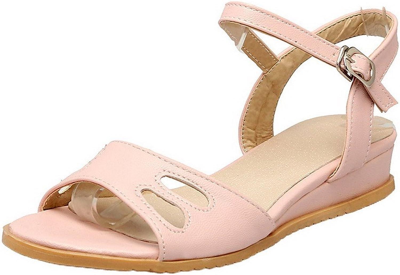 WeenFashion Women's Buckle Pu Open Toe Low Heels Solid Wedges-Sandals