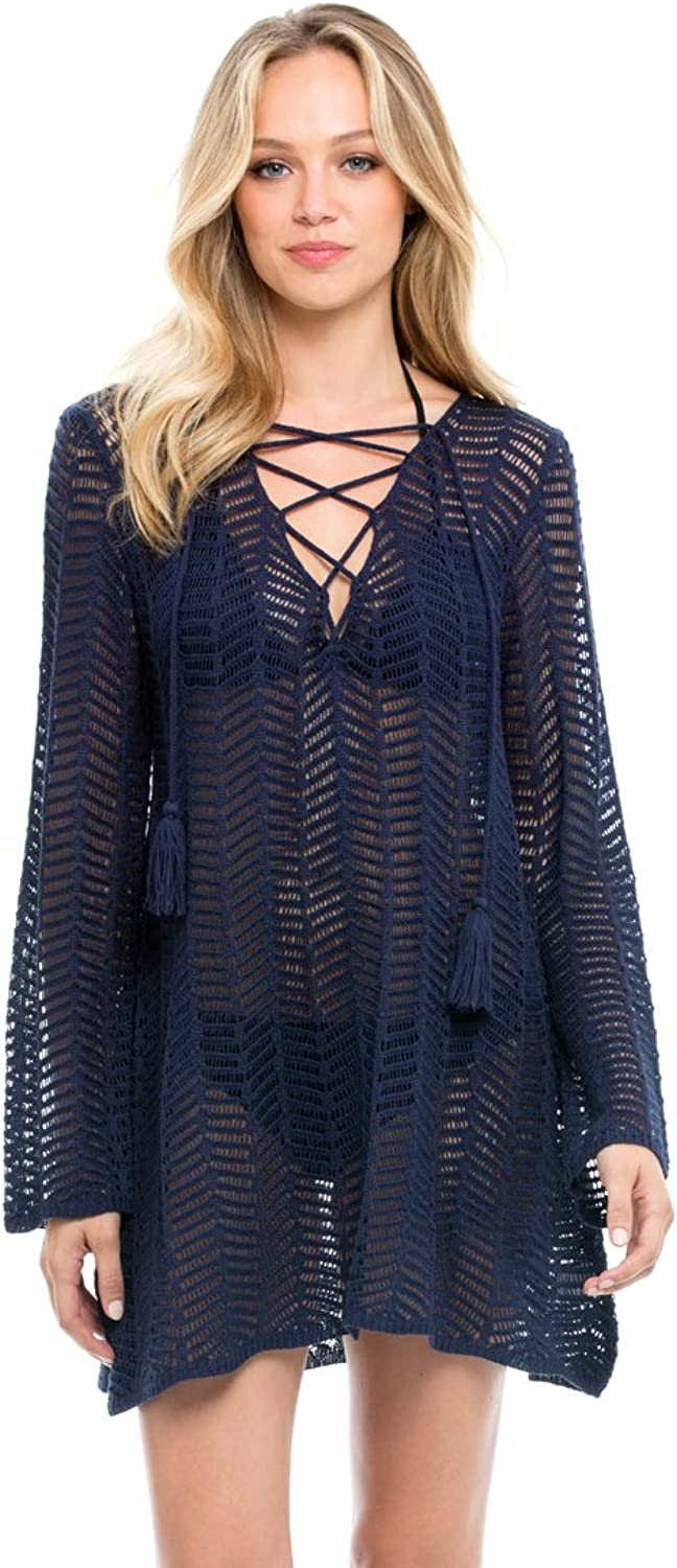 ELAN Navy Long Sleeve Cover Up Top with Tassel Lace Up Neck Line, Medium