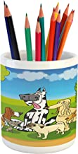 Ambesonne Dog Lover Pencil Pen Holder, Cartoon Illustration of Funny Purebreds at Forest in a Happy Sunny Day, Printed Ceramic Pencil Pen Holder for Desk Office Accessory, Multicolor