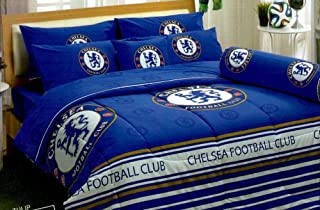 Chelsea FC Football Club Official Licensed Bedding Set, Bed Sheet, Pillow Case, Bolster Case, Comforter CS001 Set C+1 (King 72