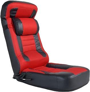 CYBER-GROUND レーシング 座椅子 【スーパーハイバック】 低反発 PVC×メッシュ レバー式 14段階 リクライニング パーソナルチェア ゲーミング座椅子 エクスト レッド 15210057 01 【64054】