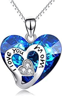 I Love You Mom Sterling Silver Heart Pendant Necklace with Blue Crystals from Swarovski