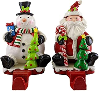 Gerson Snowman & Santa Claus Clay Dough Christmas Stocking Holders - Set of 2