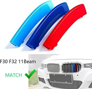 lanyun M Color Grille Insert Trims Cover for BMW F30 3 Series and F32 4 Series Grill Stripes(12-up F30 3 Series 11-Beam Grille Insert)