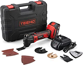 TEENO 20V MAX Cordless Oscillating Tool Multi-Tool Kit with Variable Speed, LED Light,15 Piece Accessories Set - 2.0Ah Lithium-Ion Battery and Charger Included