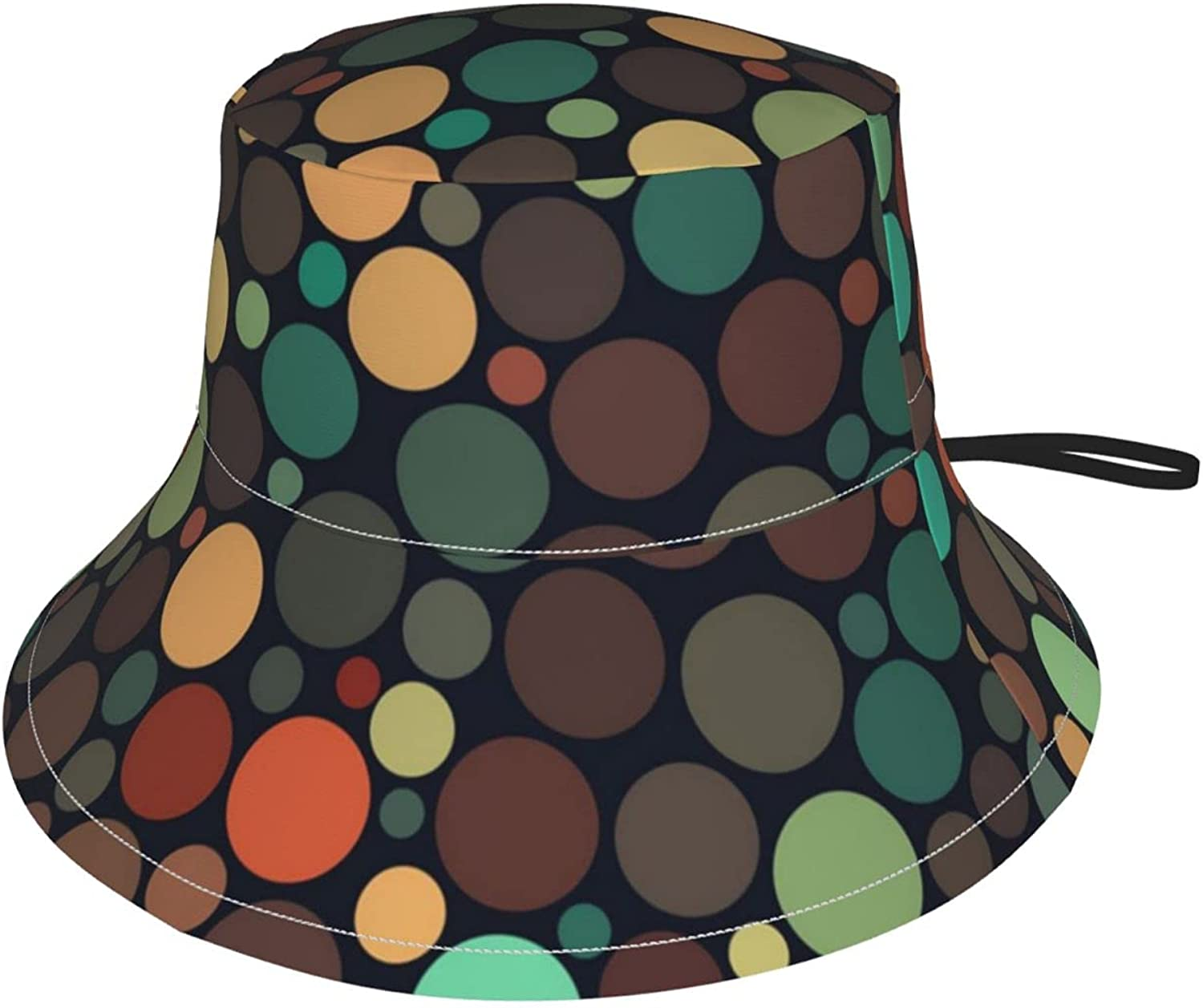 Kids Bucket Hat Jumble Multicolor Brown Teal Wide Brim Sun Protection Fishing Hat for Boys and Girls Outdoor Activities