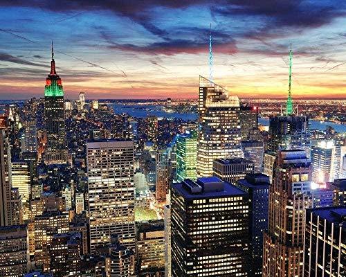 Digitales Malen Nach Zahlen Für Erwachsene New York Night View Leinwand Malvorlagen Moderne DIY Kits Kunst Wohnkultur Geschenk 40X50Cm Rahmenlos